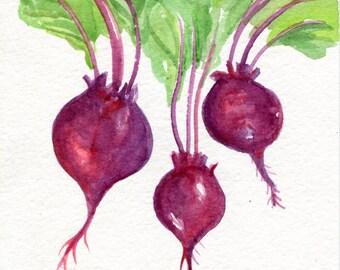 Beets watercolors paintings original,  vegetable series, 5 x 7, beet art, kitchen decor, original watercolor painting of red beets