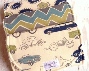 Boy Burp Cloths - Cars, Trucks Burp Cloths - Set of 3 - Super Absorbent Triple Layer Chenille - Retro Rides, Wheelies & See Saw Chevron