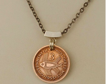 Cyprus Coin Necklace 1955 Flying Fish
