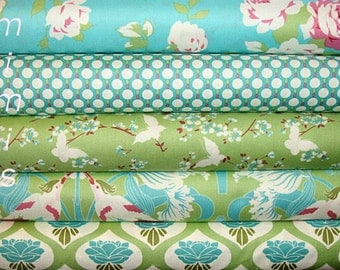 SALE! Chloe Fabric Bundle by Tanya Whelan Fabric / Green, aqua, pinkl / 5 Half Yard Bundle Cotton Quilt Fashion Fabric