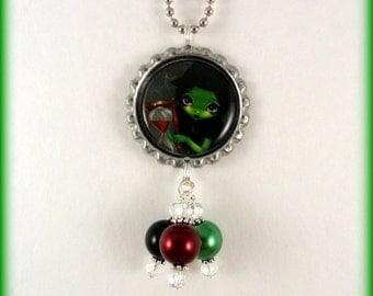 """Jasmine Becket Griffith  """" Wicked Witch and Her Hourglass """"  necklace"""