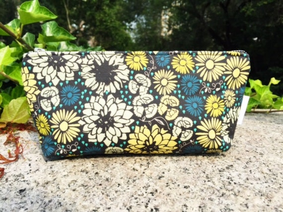 Makeup Bag, Blue Floral Make up Bag, Cosmetic Bag, Small Toiletry Bag, Zippered Pouch, Travel Bag