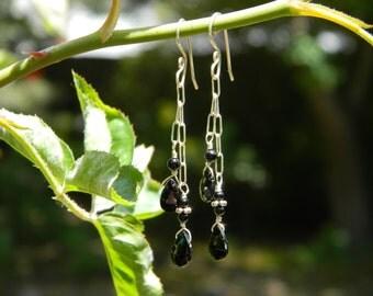 Black Spinel Briolettes Gemstone Dangle Earrings - Sterling Silver