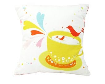 Limited Edition Birds in a Tea Cup 13 Inches Square Pillow
