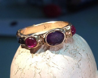 14k gold ring cast ring gemstone ring rustic ring