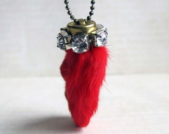 Red Rabbit's Foot Rhinestone Lucky Necklace Tomato Bright Red Rabbit Fur Foot Pendant