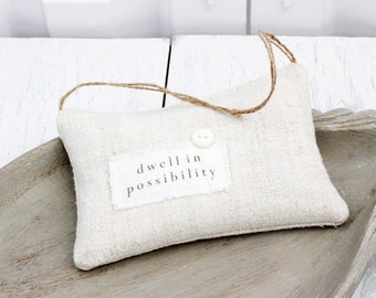 Vintage French Linen Lavender Sachet, DWELL IN POSSIBILITY, Cottage Chic