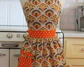 Retro Apron Wallpaper Floral with Orange CHLOE