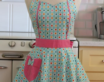Retro Apron Colorful Daisies on Blue MAGGIE