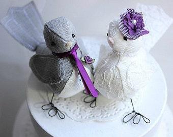 Bird Wedding Cake Topper - Love Birds cake topper - Purple - Wedding Bird cake topper - Customized Order