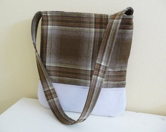 Brown Plaid Wool and Grey Suede Leather Shoulder Bag