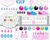 40% off BOWLING clipart 29 bowling images in pink including pins, balls, shoes, girls, bowl birthday party Instant Download