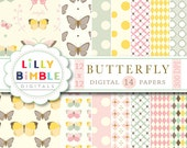 40% off Butterfly Garden digital papers in pastel colors Download Scrapbook paper butterflies Instant Download