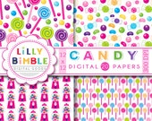 40% off Candy Digital Papers jelly beans, gumballs, lollipops, purple, hot pink, green, cupcakes, INSTANT DOWNLOAD