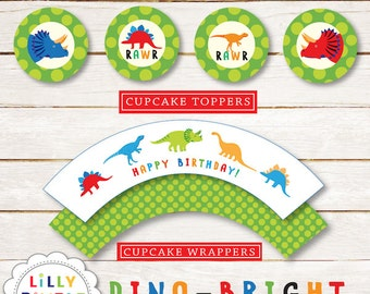 Dinosaur Cupcake Toppers and Wrappers for birthday parties, printable DIY in jpg and pdf format dino party Instant Download