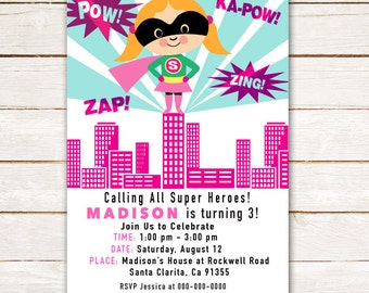 Girl Super Hero Invitation for Birthday Party, Calling all Super Heroes, Pink, Custom Invite DIY Printable