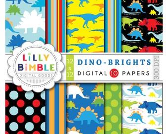 40% off Dinosaur Digital Papers DINO-BRIGHT trex, boy birthday scrapbook paper DOWNLOAD