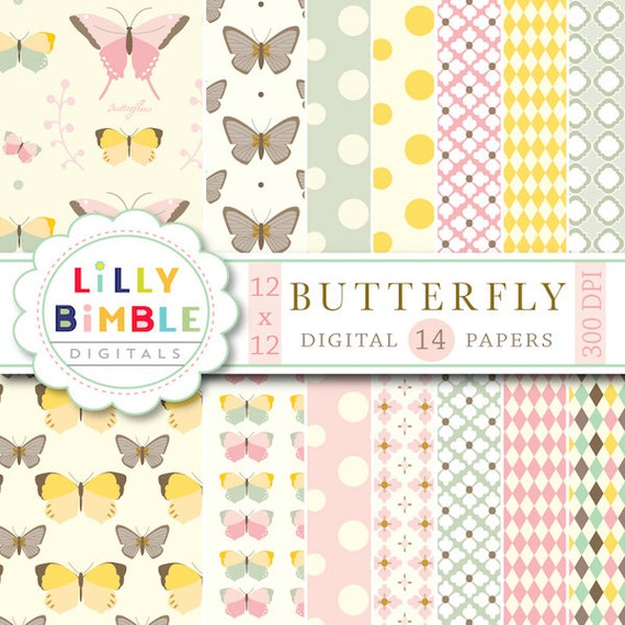 50% off sale Butterfly Garden digital papers in pastel colors Download Scrapbook paper butterflies Instant Download