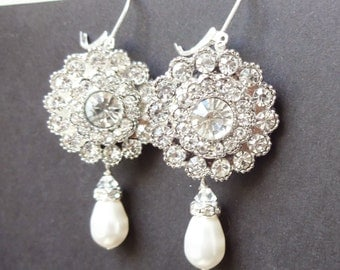 Art Deco Style Bridal Earrings, Crystal & Pearl Dangly Wedding Earrings, Vintage Bridal Jewelry, Silver Wedding Jewelry, VICTORIA