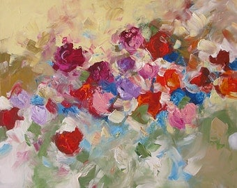 Abstract Painting Floral Acrylic Giclee Print Made To Order Red Violet Pink Roses Impressionist Fine Art Print Wall Decor by Linda Monfort