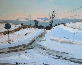 Glow, Crossroads, Winter Landscape Print on Streched Canvas, Ready for Hanging, Stooshinoff