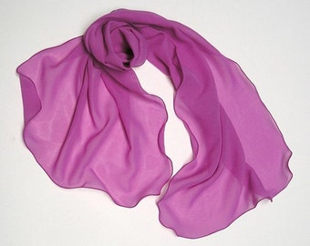 Fuchsia Pink Silk Scarf, Orchid Magenta Chiffon Wrap, Hot Pink Sheer Petite Wrap, Shoulder Coverup Hand Dyed One of a Kind, Artinsilk, S XS