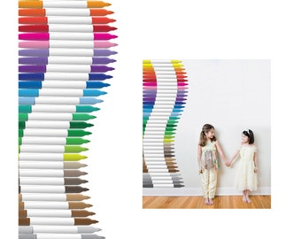 6 Foot Tall Stack of Color Markers Vinyl Wall Decal