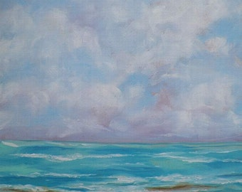 Seascape Beach Shore Original Oil Painting Ocean Waves by Artist Debra Alouise