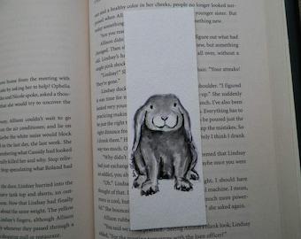 Bunny Lop Eared Watercolor ACEO Bookmark Art Original Painting by Artist Debra Alouise