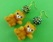 Flocked Orange Cat Earrings with Sparkly Beads - repurposed fuzzy toy kittens and iridescent glittery faceted beads - cute baby lion cubs!