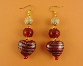 Gold and Red Dangly Heart Earrings - Striking Summer Jewellery - sparkly stripy glass lampwork heart beads - love romance anniversary gift