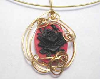 Black Rose Cameo Wire Wrapped Pendant