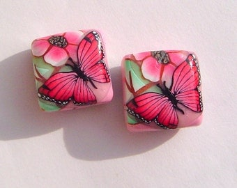 Red Butterfly Pink Flower Handmade Artisan Polymer Clay Bead Pair