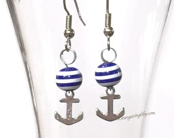 Anchor Earrings Nautical Blue & White Silver. Hypoallergenic surgical steel hooks. Great summer beach style. Destination Wedding.