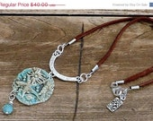 ON SALE Blue Green Handmade OOAK Ceramic Under the Ocean Scene Pendant Necklace with Leather and Silver