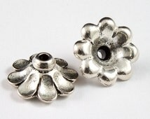 11mm Antique Silver Tierracast Scalloped Bead Cap #CKA140