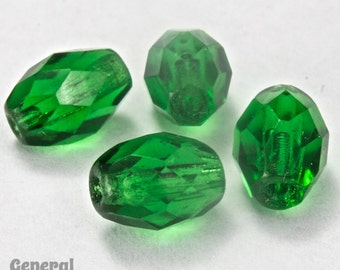 7mm x 9mm Emerald Faceted Oval Bead (25 Pcs)  #GCT011