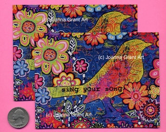 SING YOUR SONG Mixed Media Art Magnet