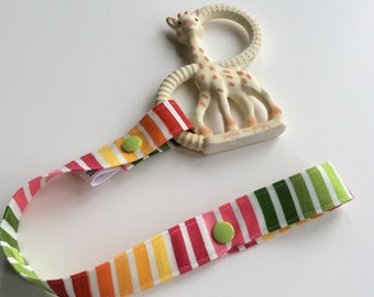 RAINBOW STRIPES - Toy Tether - Toy Leash - Toy Strap - Sippy Cup Tether - Soother Tether - Baby Gift - Shower Gift Under 10 dollars