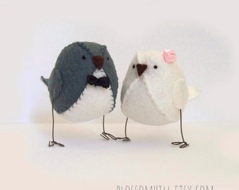 Wedding cake decoration, love birds cake topper in grey and white, wedding decor