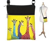 Clara Nilles Sling Bag Shoulder Purse Cross Body Bag Small Travel Purse Zipper - Jelly Bean Giraffes  cute yellow purse RTS