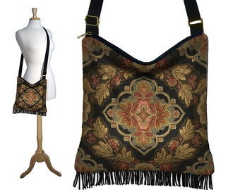 Gypsy Boho Fringe Purse, Hippie Bag, Hobo Bag Cross Body,  Tapestry Handbag,  long shoulder strap, black, zipper,  handmade RTS