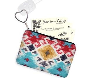 Navajo Fabric Business Card Holder Keychain Change Purse Small Zipper Coin Purse Key Fob Southwestern  blue yellow red black MTO
