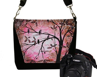 MadArt Digital Slr Camera Bag DslrR Camera Bag Purse Zipper Padded - Deluxe Pink Cherry Blossom Birds RTS