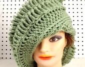 Light Sage Green Crochet Hat Womens Hat, Crochet Hat, Crochet Beanie Hat, Sage Green Hat, Crochet Winter Hat, ROYAL Beanie Hat