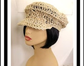 Natural Crochet Hat Womens Hat, Summer Hat for Women, Crochet Beanie Hat, Newsboy Hat, Hemp Cord Hat, Natural Hat, Boho Hat, ANNIE