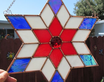 Star, 6 Pointed, Patriotic, 12 x 12 inches, of Red, White & Blue Stained Glass, Suncatcher