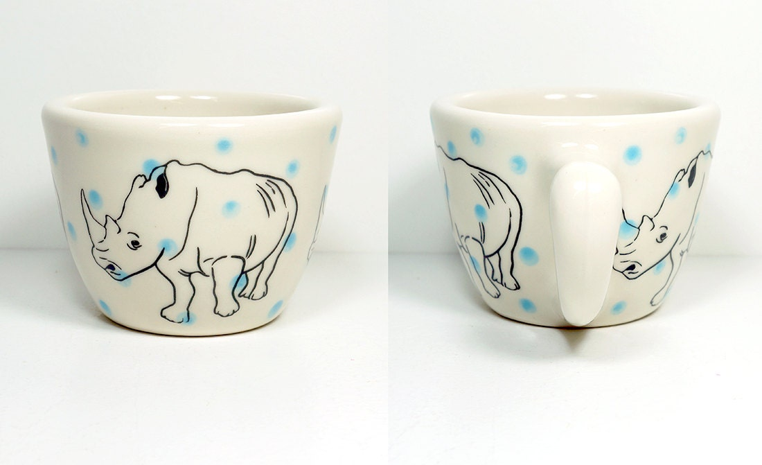 12oz cup with a rhino on blue polkadots, made to order / pick your colour