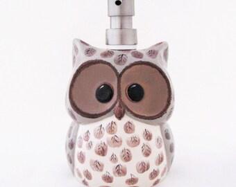 Large Ceramic Owl Soap Dispenser Stainless Steel Pump Top