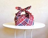 Furoshiki Wrapping Cloth / Red & Blue Plaid Cotton Small Tablecloth Multiuse Eco Cloth